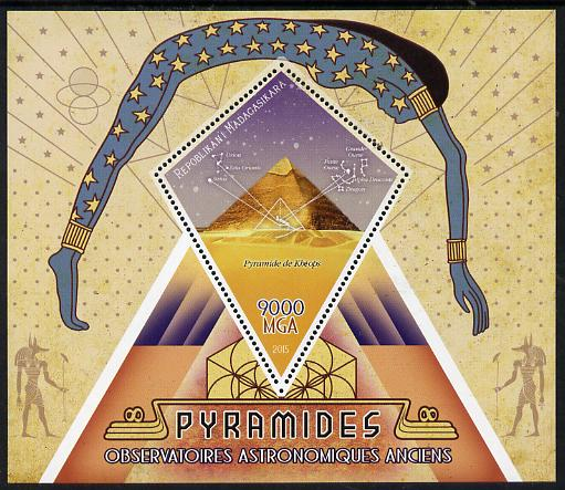 Madagascar 2015 The Pyramids perf deluxe sheet containing one diamond shaped value unmounted mint