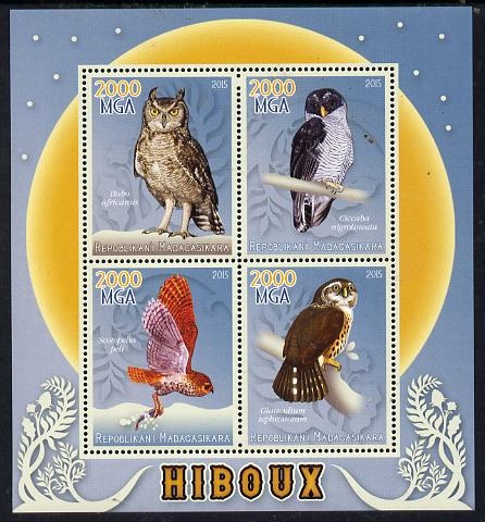 Madagascar 2015 Owls perf sheetlet containing 4 values unmounted mint