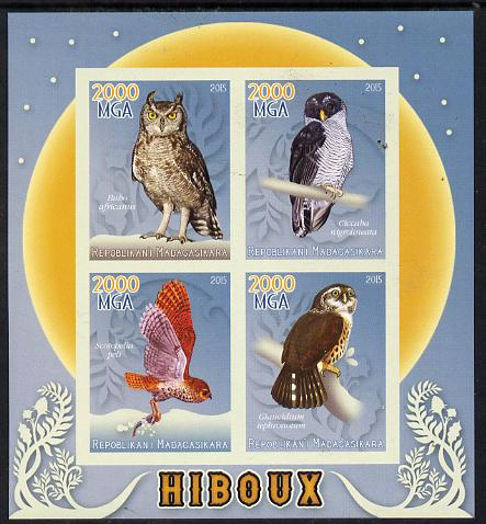 Madagascar 2015 Owls imperf sheetlet containing 4 values unmounted mint