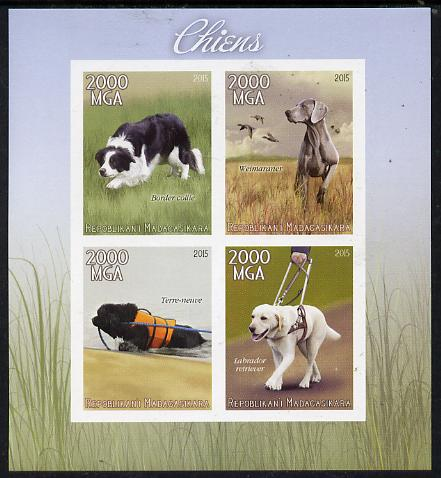 Madagascar 2015 Dogs imperf sheetlet containing 4 values unmounted mint