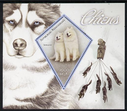 Madagascar 2015 Dogs perf deluxe sheet containing one diamond shaped value unmounted mint