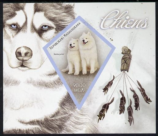 Madagascar 2015 Dogs imperf deluxe sheet containing one diamond shaped value unmounted mint