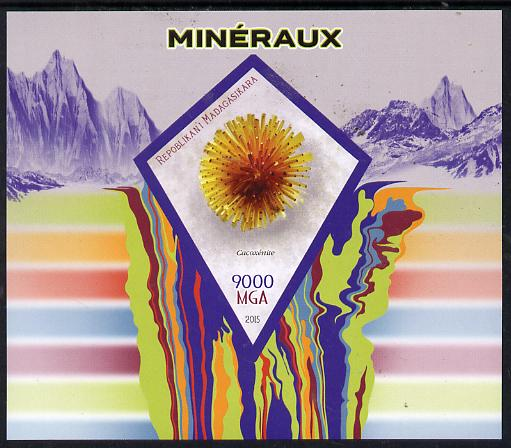 Madagascar 2015 Minerals imperf deluxe sheet containing one diamond shaped value unmounted mint