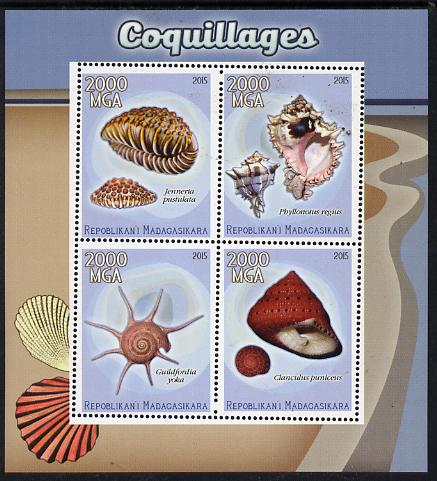 Madagascar 2015 Shells perf sheetlet containing 4 values unmounted mint