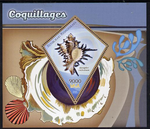 Madagascar 2015 Shells perf deluxe sheet containing one diamond shaped value unmounted mint