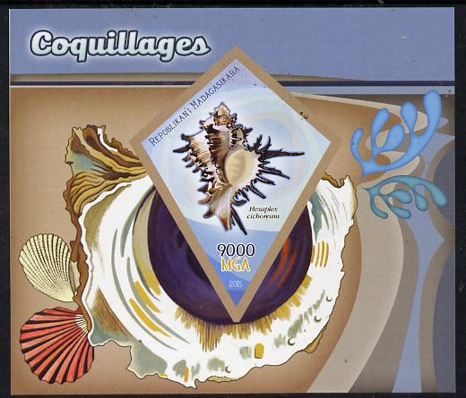 Madagascar 2015 Shells imperf deluxe sheet containing one diamond shaped value unmounted mint