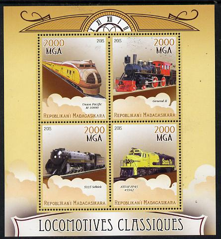 Madagascar 2015 Classic Locomotives perf sheetlet containing 4 values unmounted mint, stamps on railways, stamps on