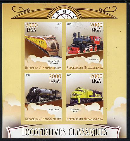 Madagascar 2015 Classic Locomotives imperf sheetlet containing 4 values unmounted mint