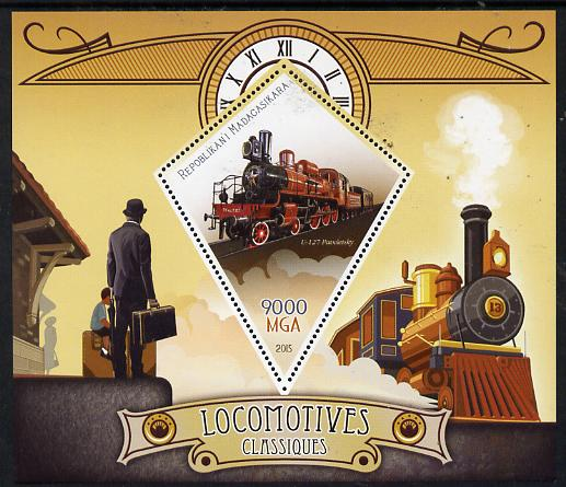 Madagascar 2015 Classic Locomotives perf deluxe sheet containing one diamond shaped value unmounted mint