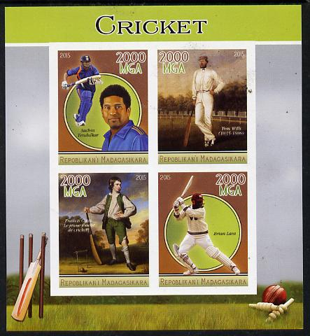 Madagascar 2015 Cricket imperf sheetlet containing 4 values unmounted mint