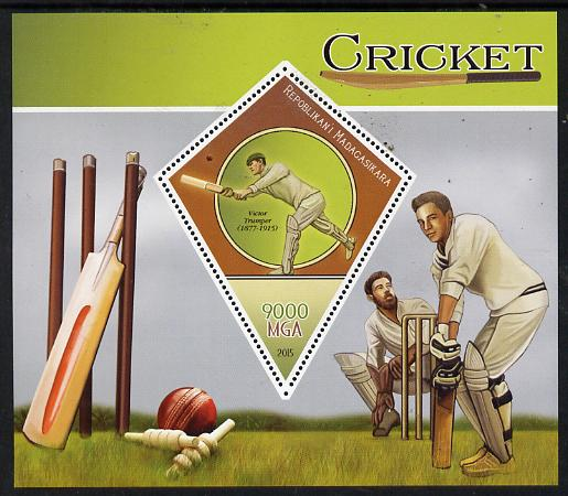 Madagascar 2015 Cricket perf deluxe sheet containing one diamond shaped value unmounted mint