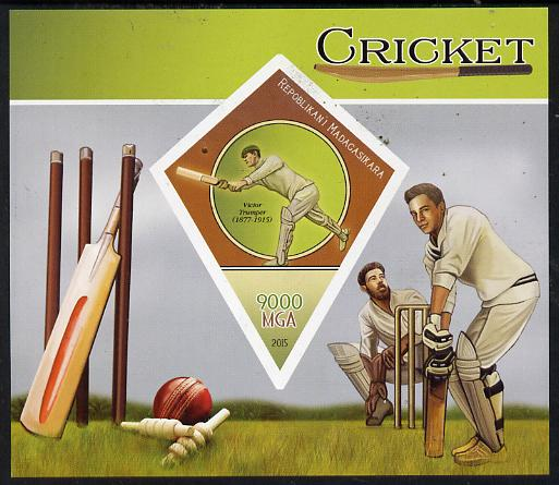 Madagascar 2015 Cricket imperf deluxe sheet containing one diamond shaped value unmounted mint