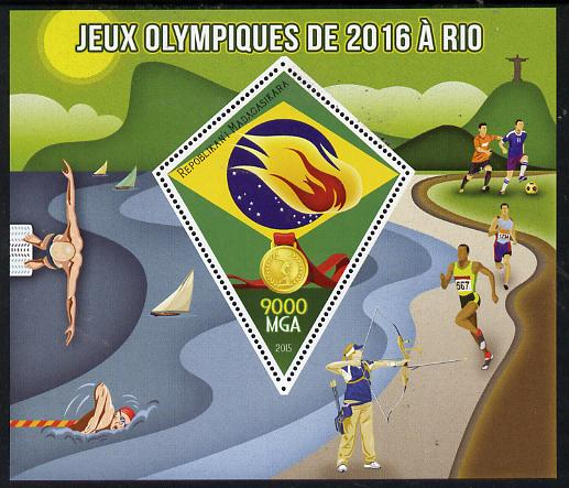 Madagascar 2015 Rio Olympic Games perf deluxe sheet containing one diamond shaped value unmounted mint