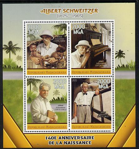 Madagascar 2015 Albert Schweitzer perf sheetlet containing 4 values unmounted mint
