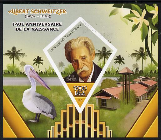 Madagascar 2015 Albert Schweitzer imperf deluxe sheet containing one diamond shaped value unmounted mint
