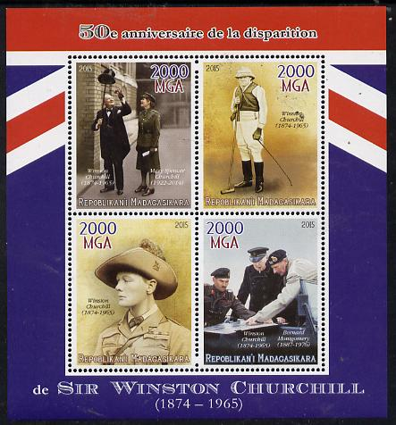 Madagascar 2015 50th Death Anniversary of Winston Churchill perf sheetlet containing 4 values unmounted mint