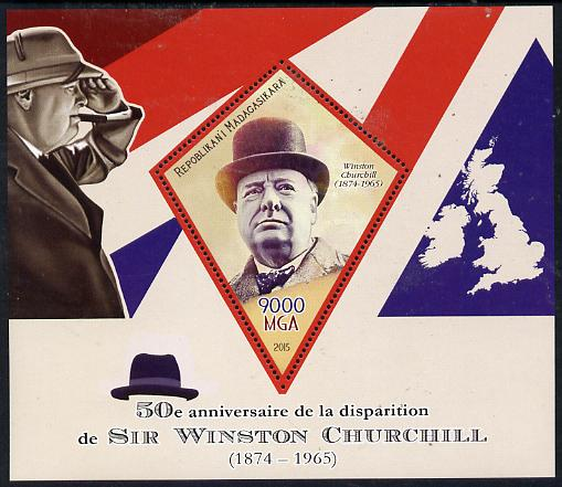 Madagascar 2015 50th Death Anniversary of Winston Churchill perf deluxe sheet containing one diamond shaped value unmounted mint