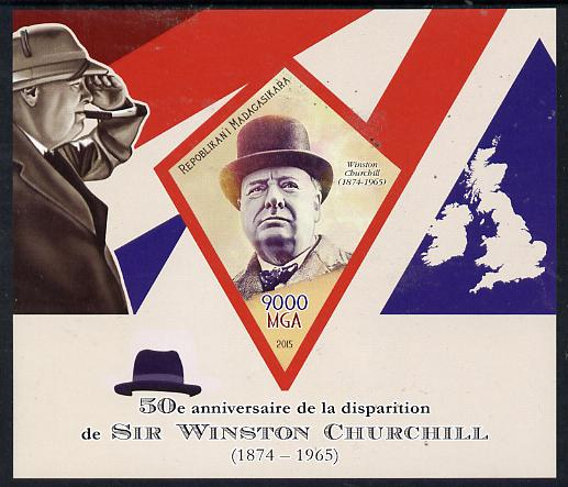 Madagascar 2015 50th Death Anniversary of Winston Churchill imperf deluxe sheet containing one diamond shaped value unmounted mint