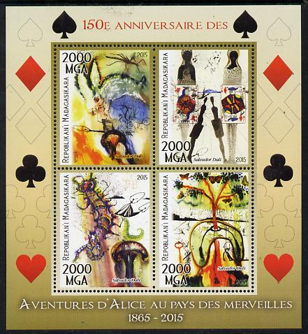 Madagascar 2015 Alice in Wonderland perf sheetlet containing 4 values unmounted mint