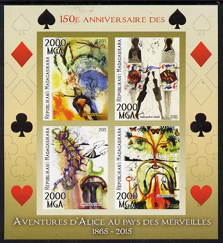 Madagascar 2015 Alice in Wonderland imperf sheetlet containing 4 values unmounted mint