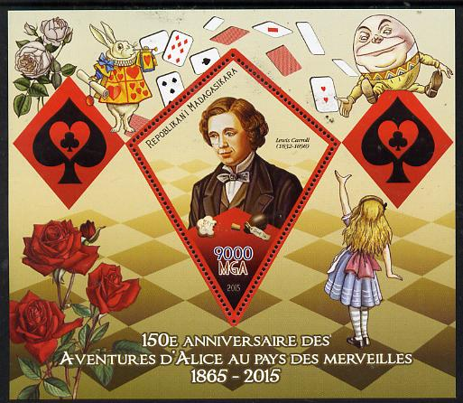 Madagascar 2015 Alice in Wonderland perf deluxe sheet containing one diamond shaped value unmounted mint