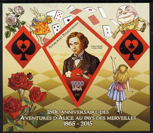 Madagascar 2015 Alice in Wonderland imperf deluxe sheet containing one diamond shaped value unmounted mint