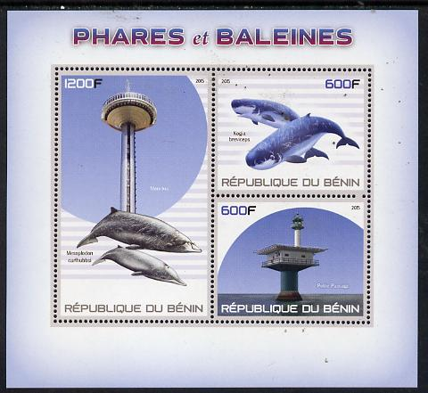 Benin 2015 Lighthouses & Whales perf sheet containing 3 values unmounted mint