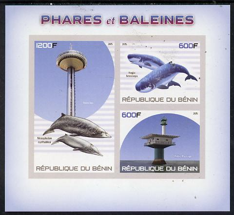 Benin 2015 Lighthouses & Whales imperf sheet containing 3 values unmounted mint
