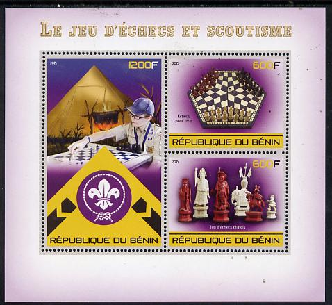 Benin 2015 Chess & Scouts perf sheet containing 3 values unmounted mint