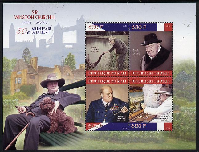 Mali 2015 Sir Winston Churchill perf sheetlet containing set of 4 unmounted mint