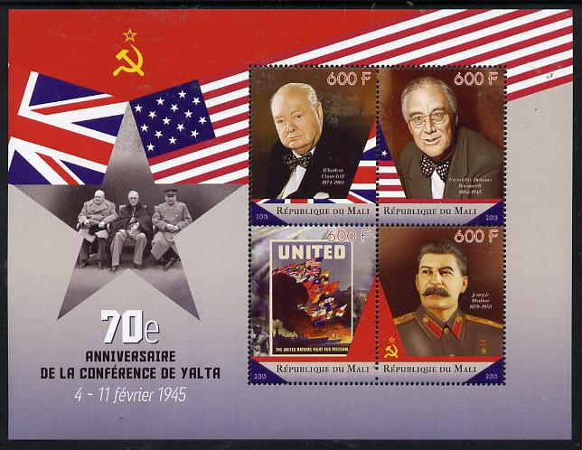 Mali 2015 70th Anniversary of Yalta Conference perf sheetlet containing set of 4 unmounted mint