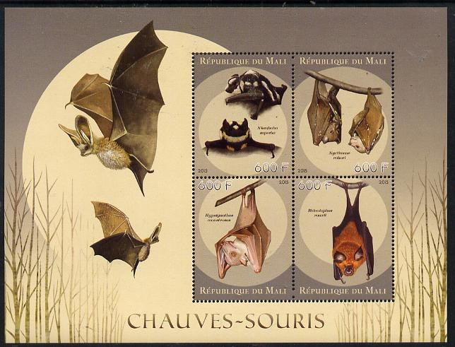 Mali 2015 Bats perf sheetlet containing set of 4 unmounted mint