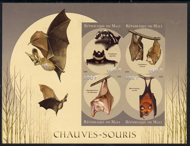 Mali 2015 Bats imperf sheetlet containing set of 4 unmounted mint