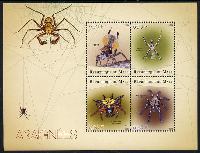Mali 2015 Spiders perf sheetlet containing set of 4 unmounted mint