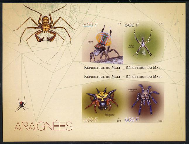 Mali 2015 Spiders imperf sheetlet containing set of 4 unmounted mint