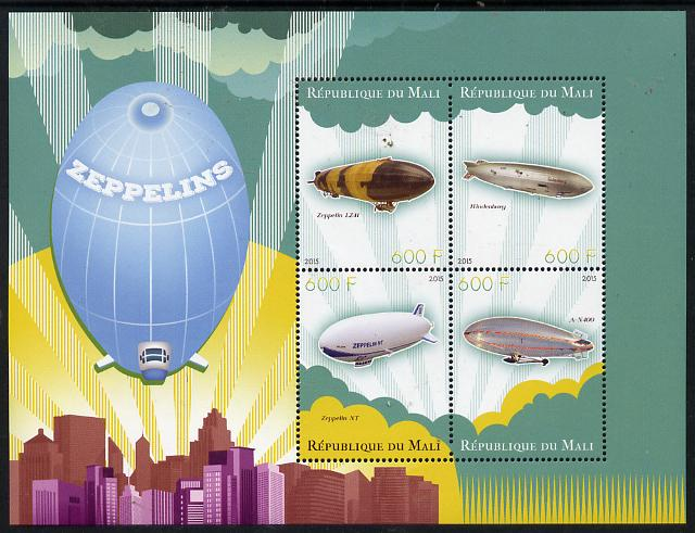 Mali 2015 Airships perf sheetlet containing set of 4 unmounted mint
