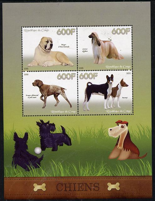 Congo 2015 Dogs perf sheetlet containing set of 4 unmounted mint