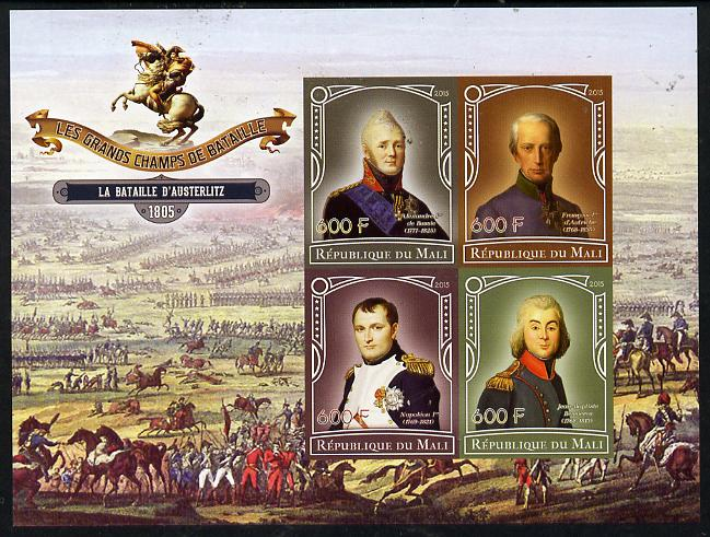 Mali 2015 Great Military Leaders - Battle of Austerlitz 1805 imperf sheetlet containing set of 4 unmounted mint
