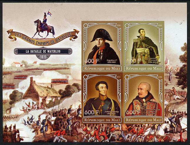Mali 2015 Great Military Leaders - Battle of Waterloo 1815 imperf sheetlet containing set of 4 unmounted mint