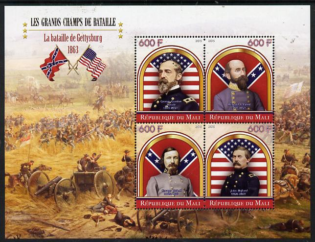 Mali 2015 Great Military Leaders - Battle of Gettysburg 1863 perf sheetlet containing set of 4 unmounted mint