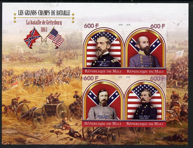 Mali 2015 Great Military Leaders - Battle of Gettysburg 1863 imperf sheetlet containing set of 4 unmounted mint