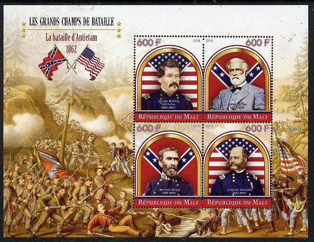 Mali 2015 Great Military Leaders - Battle of Antietam 1862 perf sheetlet containing set of 4 unmounted mint