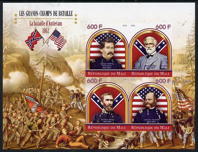 Mali 2015 Great Military Leaders - Battle of Antietam 1862 imperf sheetlet containing set of 4 unmounted mint