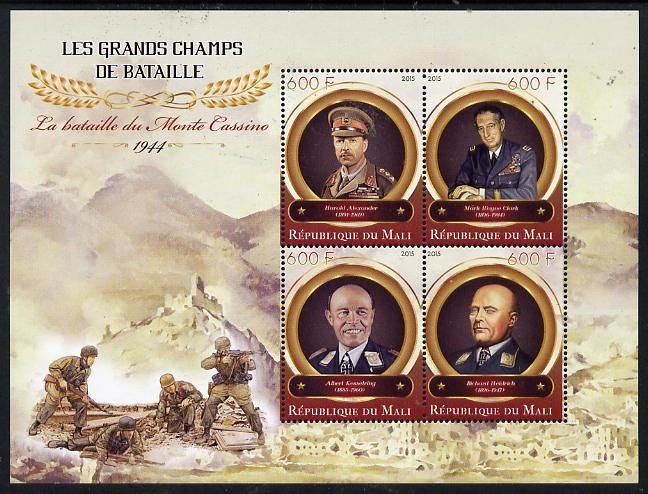 Mali 2015 Great Military Leaders - Battle of Momte Cassino 1944 perf sheetlet containing set of 4 unmounted mint