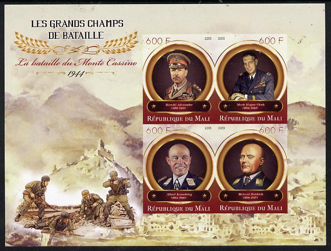 Mali 2015 Great Military Leaders - Battle of Momte Cassino 1944 imperf sheetlet containing set of 4 unmounted mint