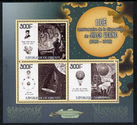 Djibouti 2015 110th Death Anniversay of Jules Verne perf sheetlet containing set of 3 unmounted mint