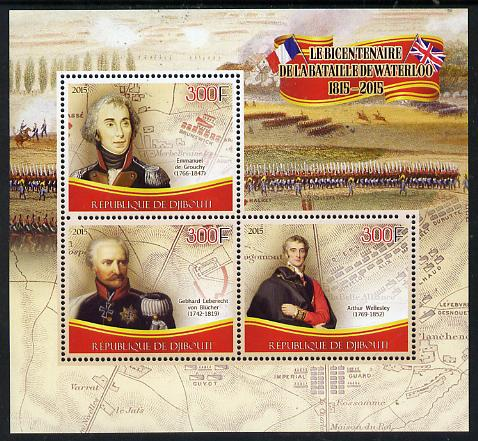 Djibouti 2015 Bicentenary of Battle of Waterloo perf sheetlet containing set of 3 unmounted mint