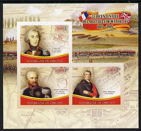 Djibouti 2015 Bicentenary of Battle of Waterloo imperf sheetlet containing set of 3 unmounted mint