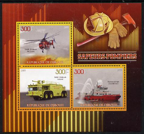 Djibouti 2015 FireFighting perf sheetlet containing set of 3 unmounted mint