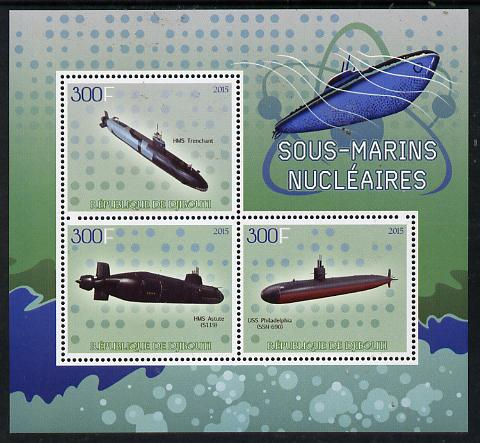 Djibouti 2015 Submarines perf sheetlet containing set of 3 unmounted mint